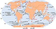 Research conducted at The University of Texas at Austin has found that changes in ocean currents in the Atlantic Ocean influence rainfall in the Western Hemisphere, and that these two systems have been linked for thousands of years. Ocean Currents Map, Water Cycle Project, Types Of Ocean, Major Oceans, Boat Navigation, Geography Map, Learn Faster, Oceans Of The World, Earth Science
