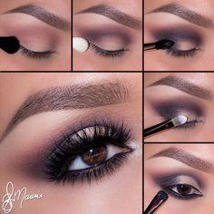 Fantastycznie wykonany makijaż w kolorach beżu i szarości...