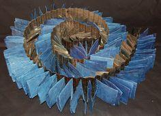 Sky & Earth (reversed of Earth & Sky) by Rachelle Woo Chuang. Made of indigo-dyed and walnut-dyed handmade paper, 2005 Paper Book, Paper Art, Book Sculpture, Sculptures, Ouroboros, Book Art, Artist's Book, Homemade Books, Teen Art