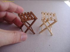 Items similar to Folding Stool - Taburete plegable.This is a lovely folding stool that is handmade of wood. Diy Barbie Furniture, Miniature Furniture, Dollhouse Furniture, Fairy Garden Furniture, Doll House Crafts, Doll Crafts, Popsicle Stick Crafts, Craft Stick Crafts, Popsicle Sticks