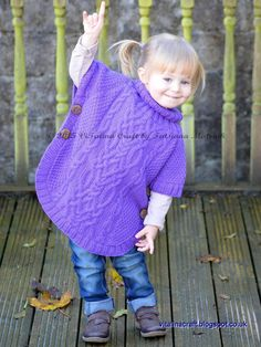 Knitting Pattern for Cable Fantasy Poncho -Toddler and child sizes years; Designed by Tatsiana Matsiuk Poncho Knitting Patterns, Knitted Poncho, Arm Knitting, Knitting For Kids, Knitting Projects, Toddler Poncho, Girls Poncho, Knit Crochet, Barn