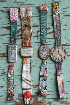 what a lovely idea for old watches. Maybe my mom's old watches with lace? Textile Jewelry, Fabric Jewelry, Textile Art, Embroidery Jewelry, Crewel Embroidery, Jewelry Crafts, Handmade Jewelry, Women's Jewelry, Vintage Jewelry