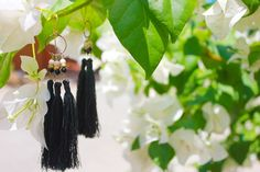 Penh Lenh Jewelry - Triple tassel earrings - Handcrafted in Cambodia