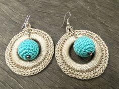 Handmade Crochet Earrings Crochet Disc Hoop by SandyCraftUK
