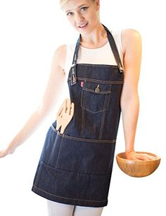 Vantoo Unisex Adjustable Chef Kitchen Denim Apron with Pockets for Men and WomenIndigo Blue ** You can get additional details at the image link.