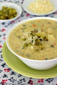 Dill Pickle and Potato Soup.  A thick and creamy soup with potatoes, carrots, sour cream, Swiss cheese and dill pickles! Dill pickles and potatoes meld together in a surprising way.