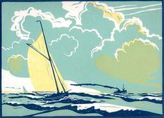 """""""Bristol Channel Pilot Cutter"""" / boat, sea - 3 block lino print ' Colin Moore, U.K."""