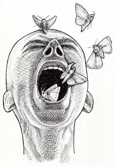 Creepy Drawings, Dark Art Drawings, Pencil Art Drawings, Art Drawings Sketches, Creepy Sketches, Cute Small Drawings, Surealism Art, Psychedelic Art, Surreal Art