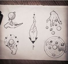 """Top left - thigh piece reference"" hand and solar system tattoo sketches Hand Tattoo, 1 Tattoo, Body Art Tattoos, Tatoos, Circle Tattoos, Cat Tattoos, Triangle Tattoos, Ankle Tattoos, Arrow Tattoos"