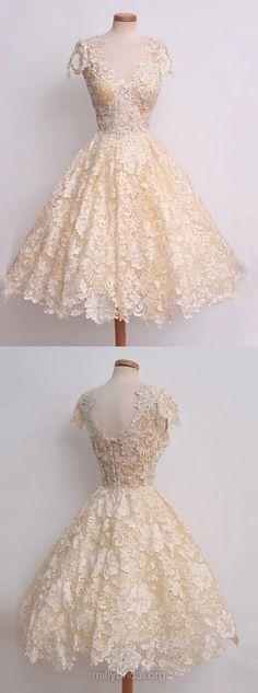 Vintage Prom Dresses, Short Prom Dresses, Lace Prom Dresses, 2018 Prom Dresses A-line, V-neck Prom Dresses Knee-length, Modest Prom Dresses Champagne