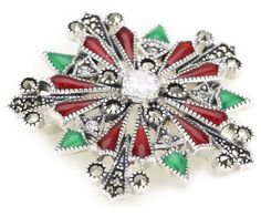 """Judith Jack """"Winter Sparkle"""" Sterling Silver, Marcasite and Enamel Giftable Snowflake Brooch"""