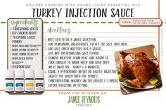 Turkey injection sauce recipe with Young Living Oregano Vitality, Thyme Vitality, Black Pepper Vitality and Lemon Vitality Essential Oils. www.infusedwithwellness.com