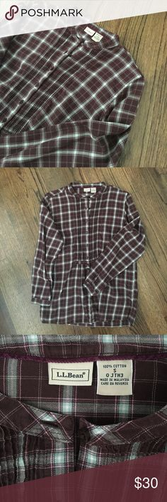 L.L. Bean Women's Plaid Flannel Shirt Brown, grey, and pick Plaid long sleeve shirt from L.L. Bean. Buttons partial in the front. Small pleats around the buttons. L.L. Bean Tops Button Down Shirts