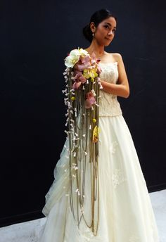 Cascade bouquet in a different way . Cascading Bridal Bouquets, Cascade Bouquet, Wedding Bouquets, Wedding Dresses, Floral Wedding, Wedding Flowers, Contemporary, Modern, Floral Design