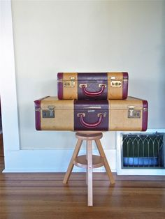 vintage suitcase set pair of nesting by thespectaclednewt on Etsy