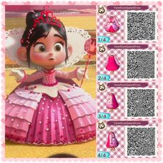Animal Crossing New Leaf Professional Design - Vanellope by Schweetz Queen Dress - acnl-qr-code - Animal Crossing 3ds, Animal Crossing Qr Codes Clothes, Wreck It Ralph Halloween, Wreck It Ralph Costume, Candy Theme Birthday Party, Motif Acnl, All Disney Princesses, Vanellope Von Schweetz, Ac New Leaf
