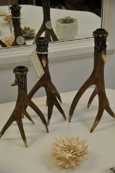 Antlers turned Candle Holders