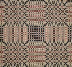 weaver: J. Lovell | Pine Burr | overshot | Fayetteville, Alabama | c. late 1880s | reproduction in tan/black/brick