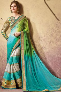 Sky Blue Green and Cream Heavy Embroidered Bridal Saree