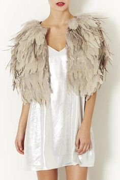 Feather Mix Cape in nude (also available in black)