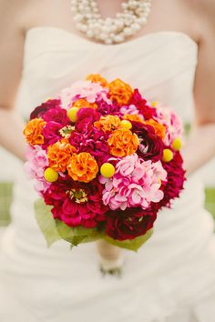 pink and orange wedding bouquet Photography by katherinesalvatori.com Read more - http://www.stylemepretty.com/2013/06/06/olympia-fields-barn-wedding-from-katherine-salvatori-photography/