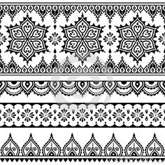 mehndi-indian-henna-tattoo-seamless-pattern-design-elements-vector-black-long-ornament-orient-traditional-style-white-59214439.jpg (400×400)
