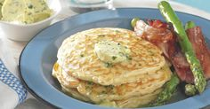 The best Savory Pancakes with Bacon and Asparagus recipe you will ever find. Welcome to RecipesPlus, your premier destination for delicious and dreamy food inspiration. Pancakes And Bacon, Savory Pancakes, Banana Pancakes, Asparagus Bacon, Asparagus Recipe, Best Pancake Recipe, Herb Butter, Food Inspiration, Food To Make