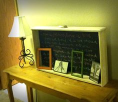 Wall in my hallway, antique drawer repurposed as a chalkboard :)