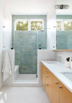 Beautiful Bathrooms, Modern Bathroom, Small Bathroom, Master Bathroom, Bad Inspiration, Bathroom Inspiration, Light Green Bathrooms, Green Tile Bathrooms, Upstairs Bathrooms