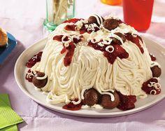 April Fool's Spaghetti and Meatballs Cake