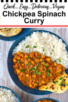This delicious healthy chickpea curry with spinach (or spinach garbanzo curry) is not only tasty, but it's also vegan too! Ready in just half an hour, and incredibly easy to make. Make this easy vegan curry recipe for dinner any night of the week. Authentic Indian takeaway style food (chana palak) with none of the expense or grease. #vegancurry #chickpeacurry #chickpeaspinachcurry #easycurry #thefieryvegetarian