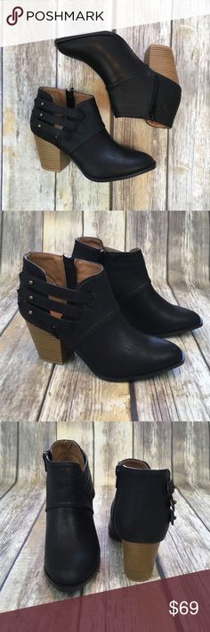 Black Booties These booties are perfect for your next Girls Night Out! These feature a strappy look on one side and zip up on the other. You can't go wrong with a good pair of black booties!! Shoes Ankle Boots & Booties