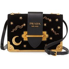 Prada Cahier Astrology Velvet Shoulder Bag ($2,090) ❤ liked on Polyvore featuring bags, handbags, shoulder bags, black, prada shoulder bag, velvet purse, shoulder handbags, embellished handbags and flap handbags