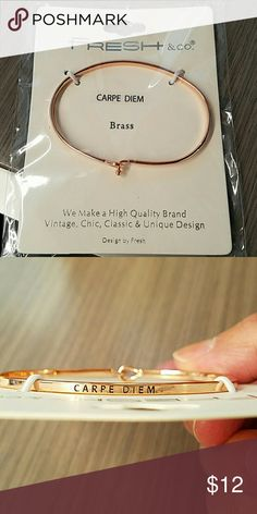 Carpe Diem Bangle NWT Carpe Diem bangle by Fresh & Co.  Shown on Madewell for exposure.  Re-poshing.  Beautiful bangle in rose color and in excellent condition. Still in package. Madewell Jewelry Bracelets