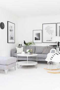 Stylizimo living room, Scandinavian style, black and white