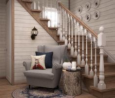 Super Home Design Stairs Woods 54 Ideas Stairs Painted White, White Stairs, White House Interior, Interior Stairs, Flooring For Stairs, Basement Stairs, Rustic Stairs, Tiny House Stairs, Stair Decor