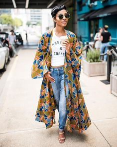Switch out the jeans to leggings and wear a different kimono and yes Fashion Mode, Look Fashion, Womens Fashion, Fashion Trends, Tokyo Fashion, Fashion Tips, Style Outfits, Casual Outfits, Cute Outfits