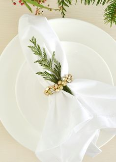 DIY Jingle Bell Napkin Rings - Super easy idea, perfect for Christmas! from boxwoodavenue.com