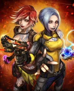 Borderlands 2: Lilith the Firehawk and Maya the Siren... I have this :)