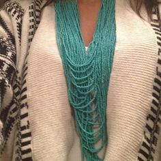 layered teal beaded necklace