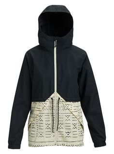 Burton Women's Narraway Rain Jacket, True Black / Canvas Bogolanfini, S Black Rain Jacket, North Face Rain Jacket, Rain Jacket Women, Green Raincoat, Raincoats For Women, Outerwear Women, Jackets For Women