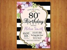 80th Birthday Invitation for Women. Purple by happyappleprinting. ..or save the date cards.