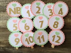 First Year Banner Photo Clips - Mint and Gold Party, Pink and Gold Party…