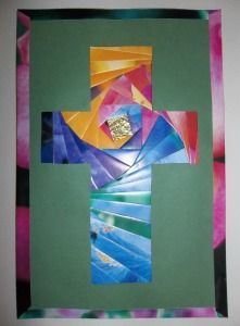 Great card for Grandparents: finished iris fold cross with edging