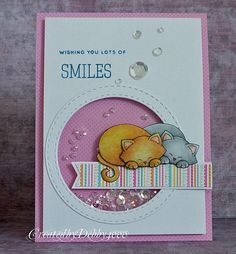 Smile cat shaker card by Debby for the Simon Says Stamp Wednesday Challenge | Newton's Antics Stamp set by Newton's Nook Designs