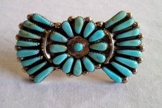 Beautiful Vintage Navajo Zuni Turquoise Sterling Needle Point Brooch Pin Pendant #Unbranded