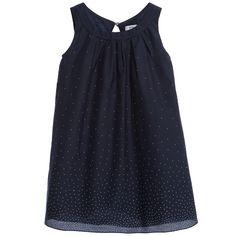 Navy Blue & Spots Silk Blend Dress , Boss, Girl
