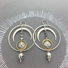 Mystical Moon All Seeing Eye Bird Skull Statement Earrings