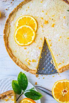 Sweet Meyer lemons are used to make this tart tart. A salty shortbread crust and a touch of honey make it more interesting than your average lemon bar. Meyer Lemon Recipes, Lemon Desserts, Just Desserts, Delicious Desserts, Tart Recipes, Sweet Recipes, Cooking Recipes, Sweet Pie, Sweet Tarts