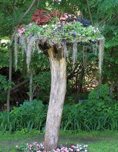 Garden art ideas garden junk ideas how to create unique garden art Tree Stump Planter, Tree Planters, Tree Stumps, Landscape Design, Garden Design, Natural Landscaping, Landscaping Ideas, Backyard Ideas, Garden Junk